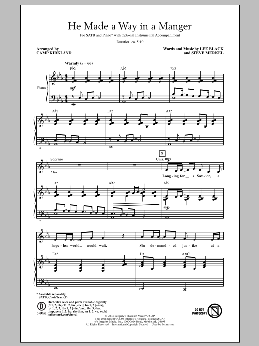 Camp Kirkland He Made A Way In A Manger sheet music notes and chords. Download Printable PDF.