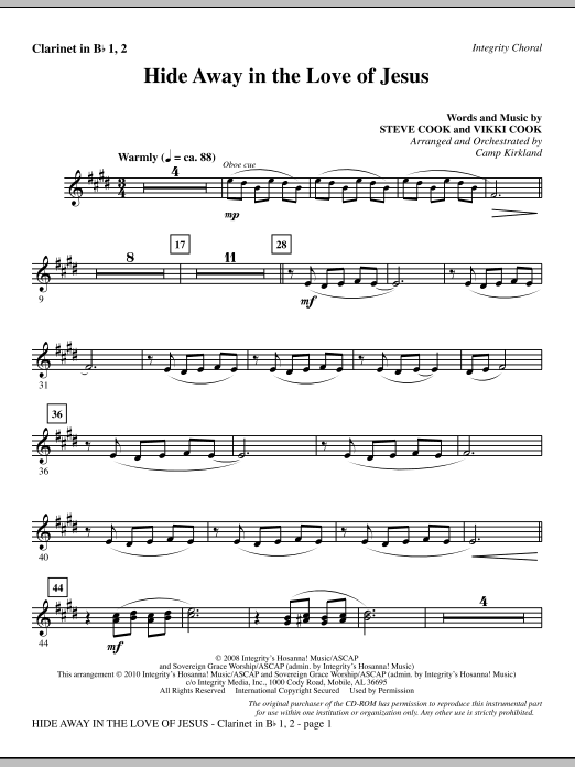 Camp Kirkland Hide Away In The Love Of Jesus - Clarinet 1 & 2 sheet music notes and chords. Download Printable PDF.