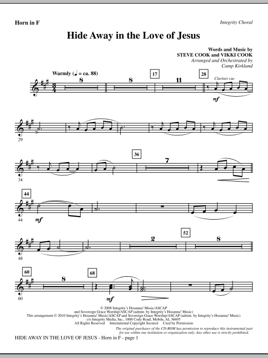 Camp Kirkland Hide Away In The Love Of Jesus - Horn 1 & 2 sheet music notes and chords. Download Printable PDF.