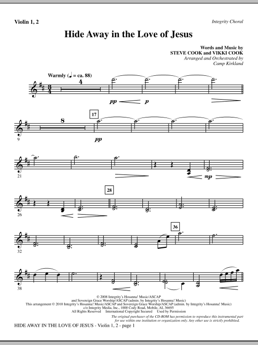 Camp Kirkland Hide Away In The Love Of Jesus - Violin 1, 2 sheet music notes and chords. Download Printable PDF.