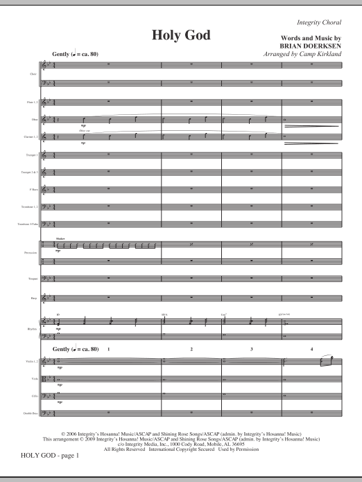 Camp Kirkland Holy God - Full Score sheet music notes and chords. Download Printable PDF.