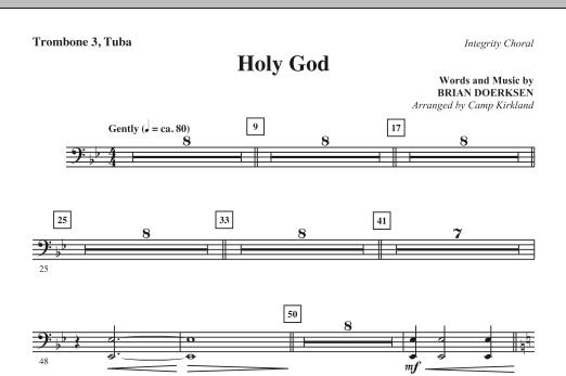 Camp Kirkland Holy God - Trombone 3/Tuba sheet music notes and chords. Download Printable PDF.