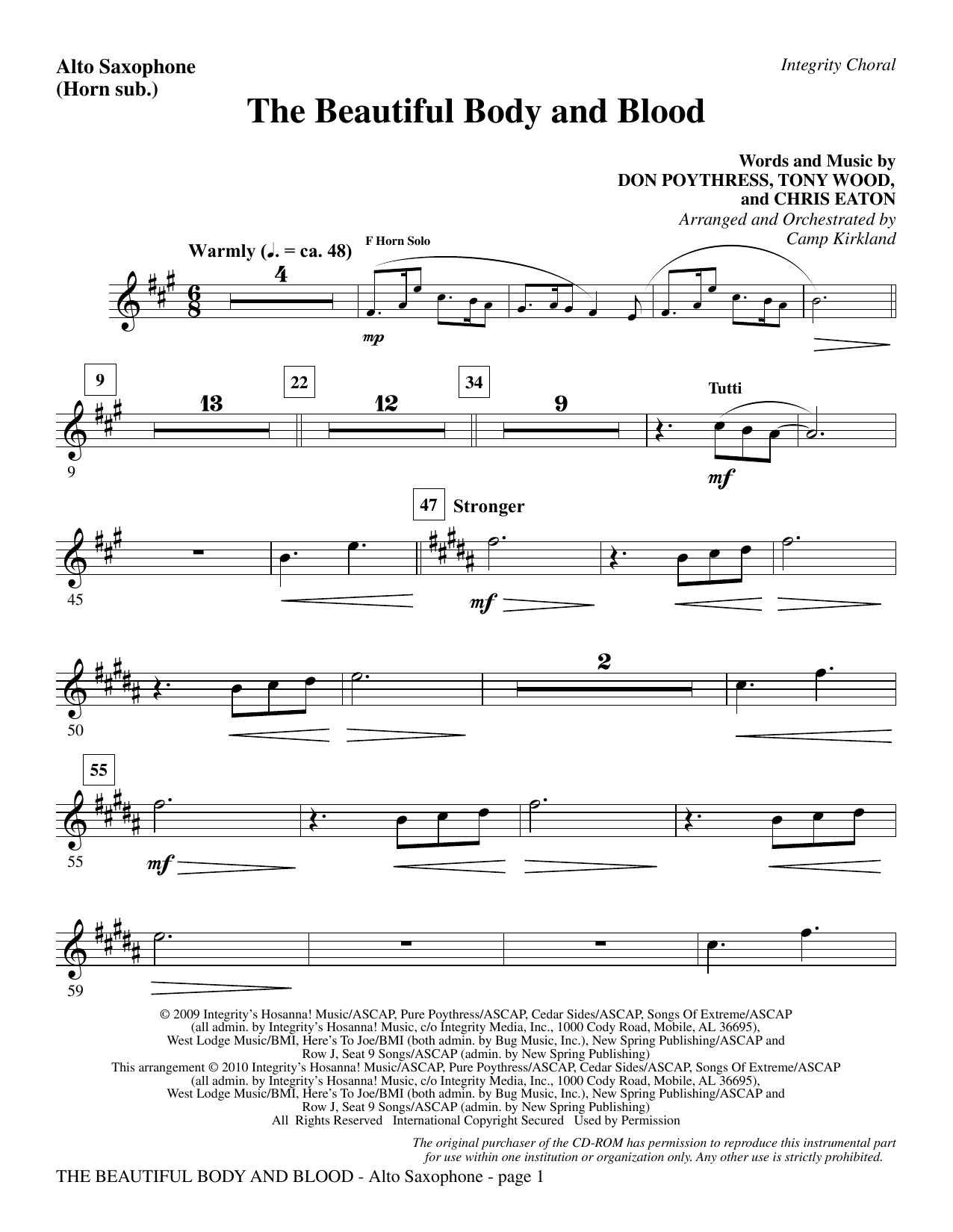 Camp Kirkland The Beautiful Body And Blood - Alto Sax (sub. Horn) sheet music notes and chords. Download Printable PDF.