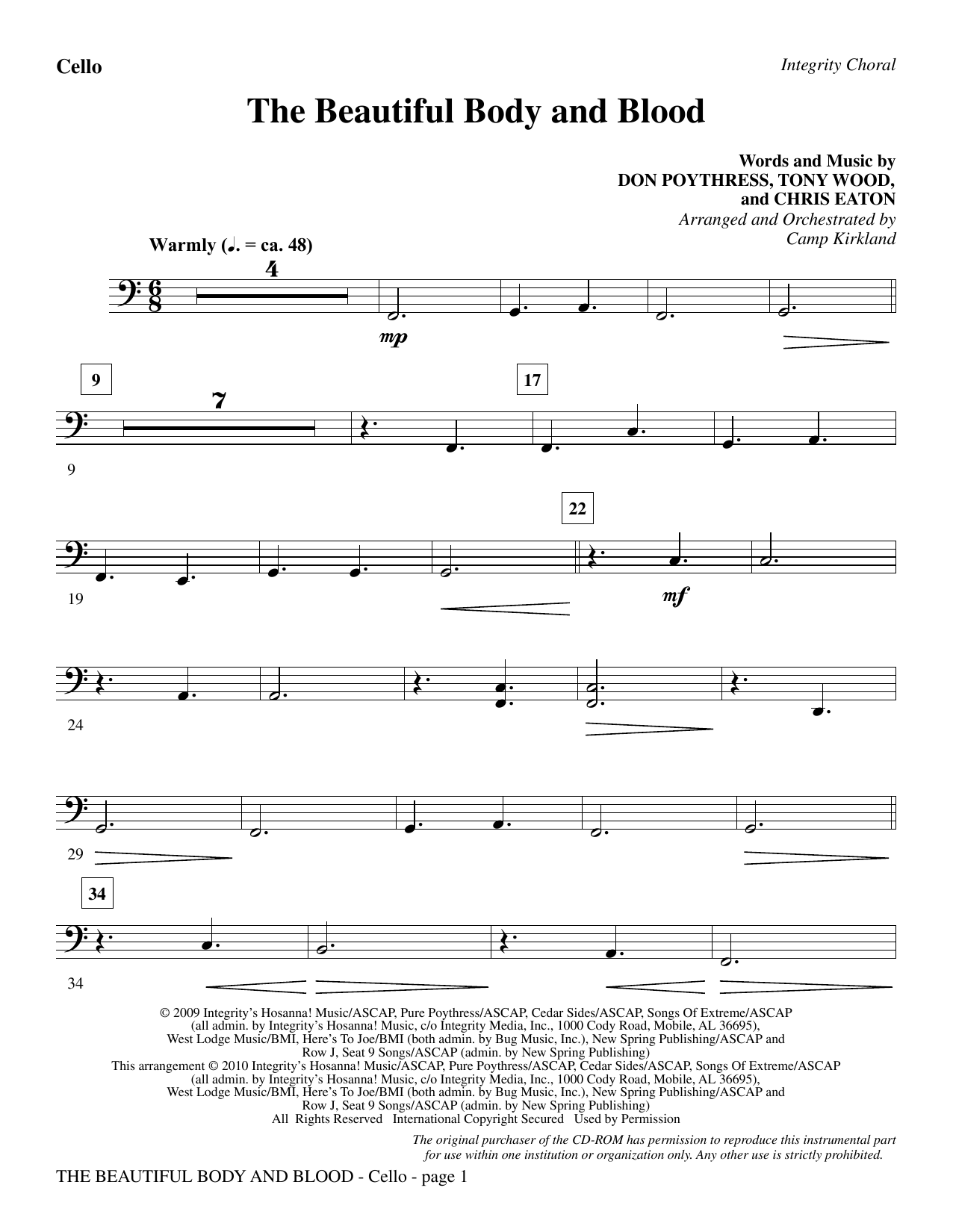 Camp Kirkland The Beautiful Body And Blood - Cello sheet music notes and chords. Download Printable PDF.