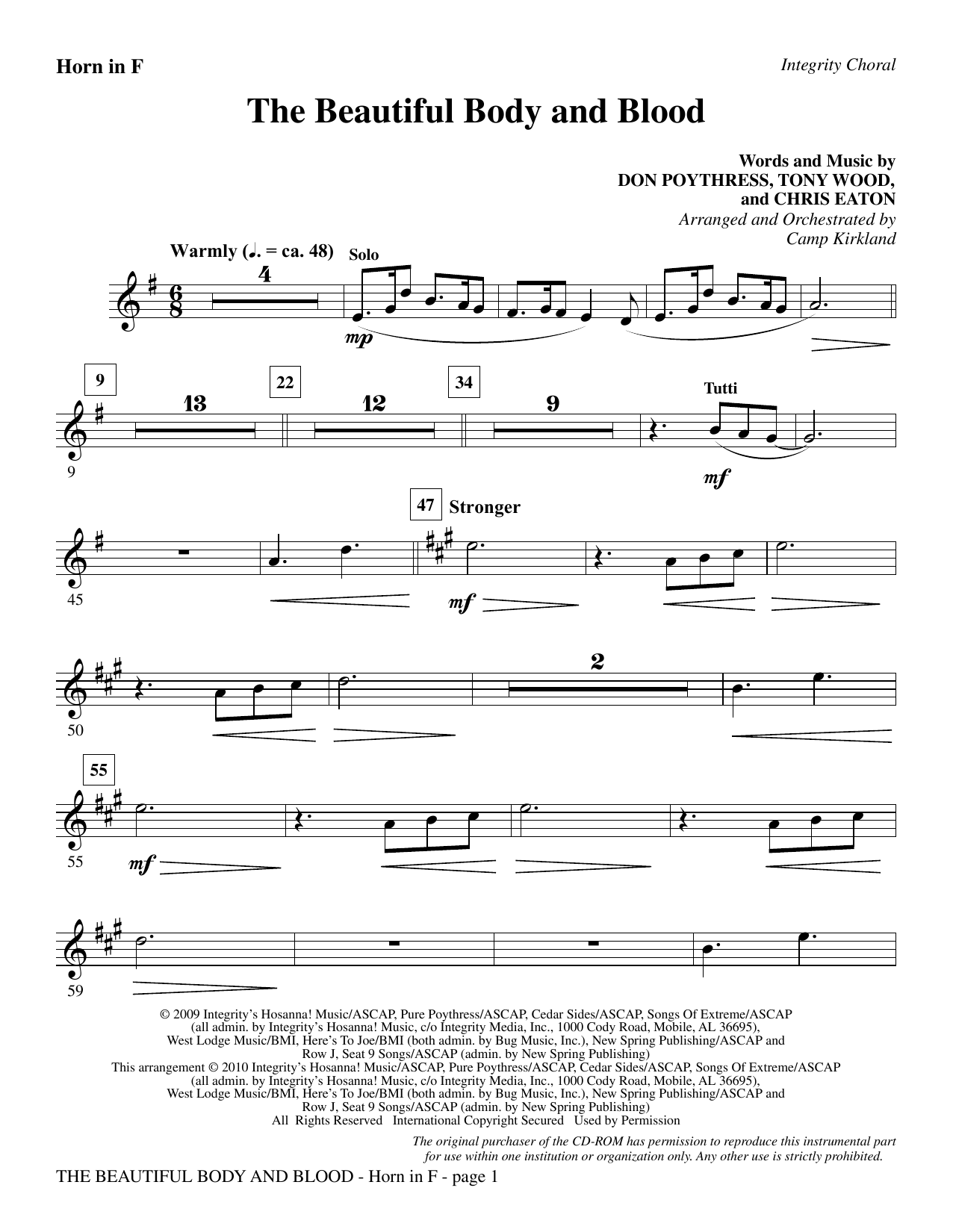 Camp Kirkland The Beautiful Body And Blood - F Horn sheet music notes and chords. Download Printable PDF.
