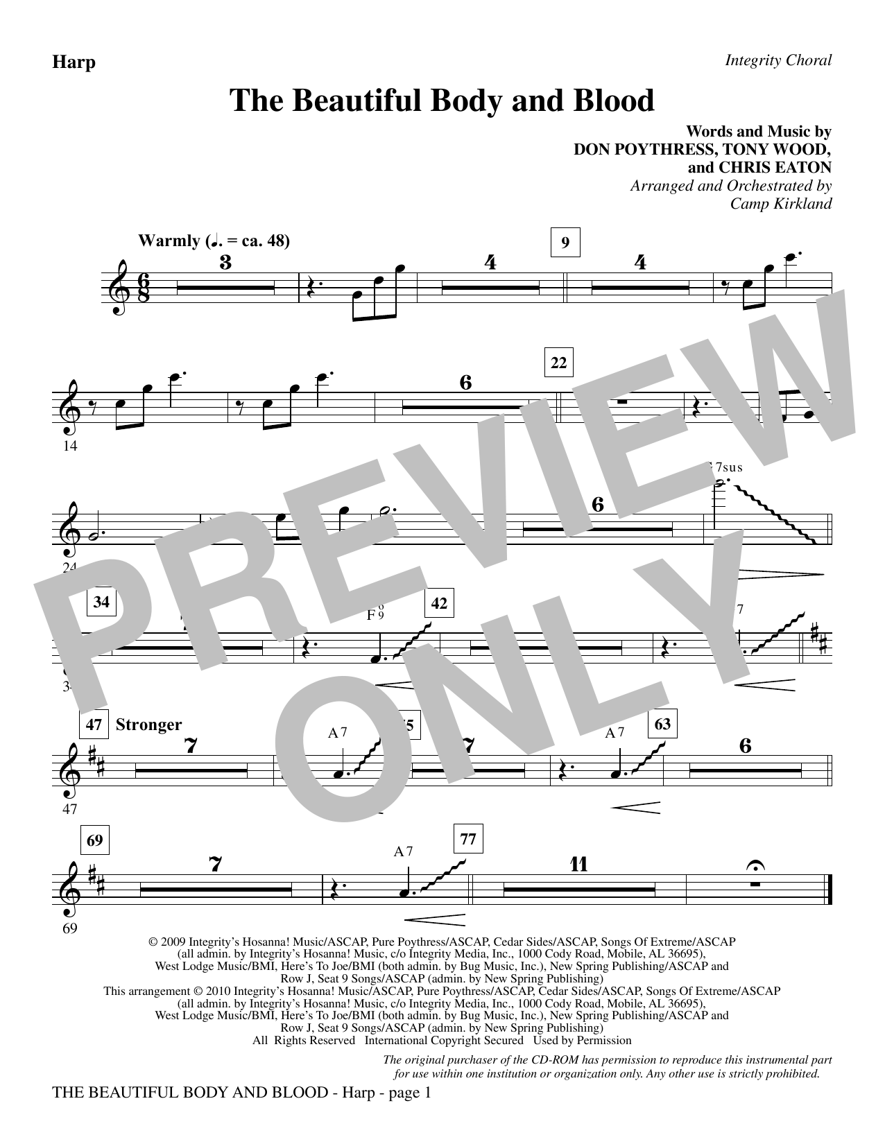 Camp Kirkland The Beautiful Body And Blood - Harp sheet music notes and chords. Download Printable PDF.