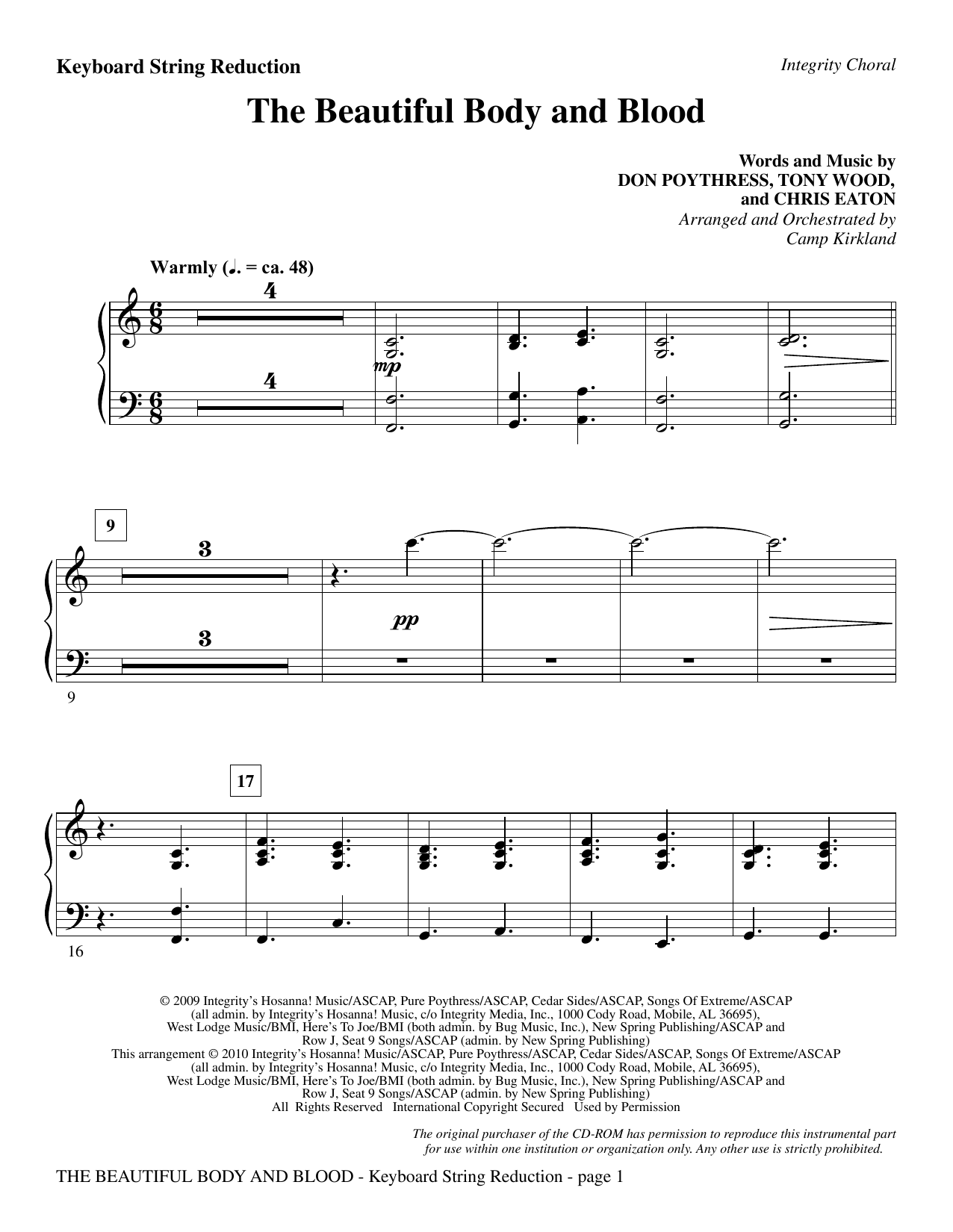 Camp Kirkland The Beautiful Body And Blood - Keyboard String Reduction sheet music notes and chords. Download Printable PDF.