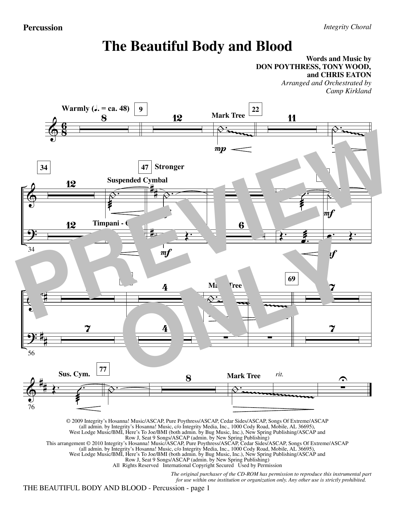Camp Kirkland The Beautiful Body And Blood - Percussion sheet music notes and chords. Download Printable PDF.