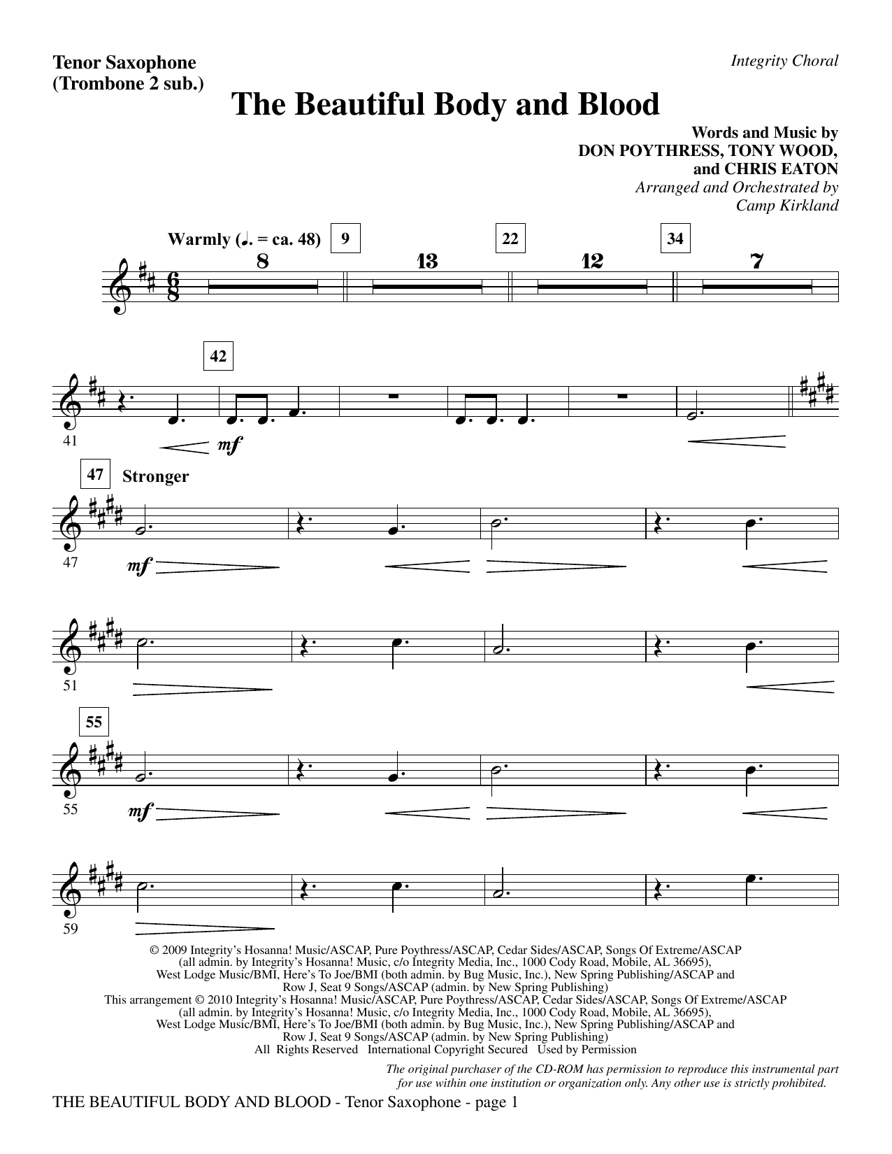 Camp Kirkland The Beautiful Body And Blood - Tenor Sax (sub. Tbn 2) sheet music notes and chords. Download Printable PDF.