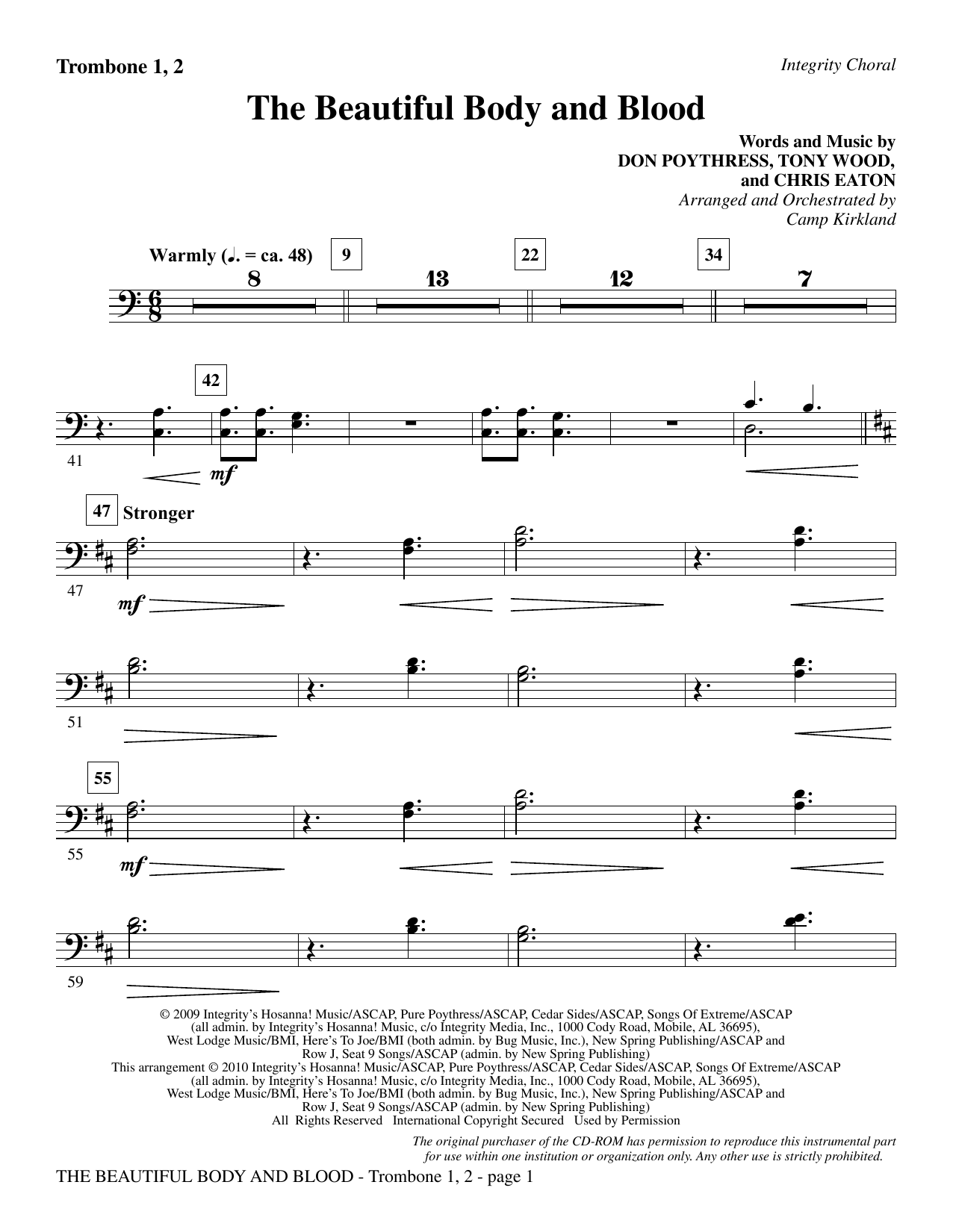 Camp Kirkland The Beautiful Body And Blood - Trombone 1 & 2 sheet music notes and chords. Download Printable PDF.
