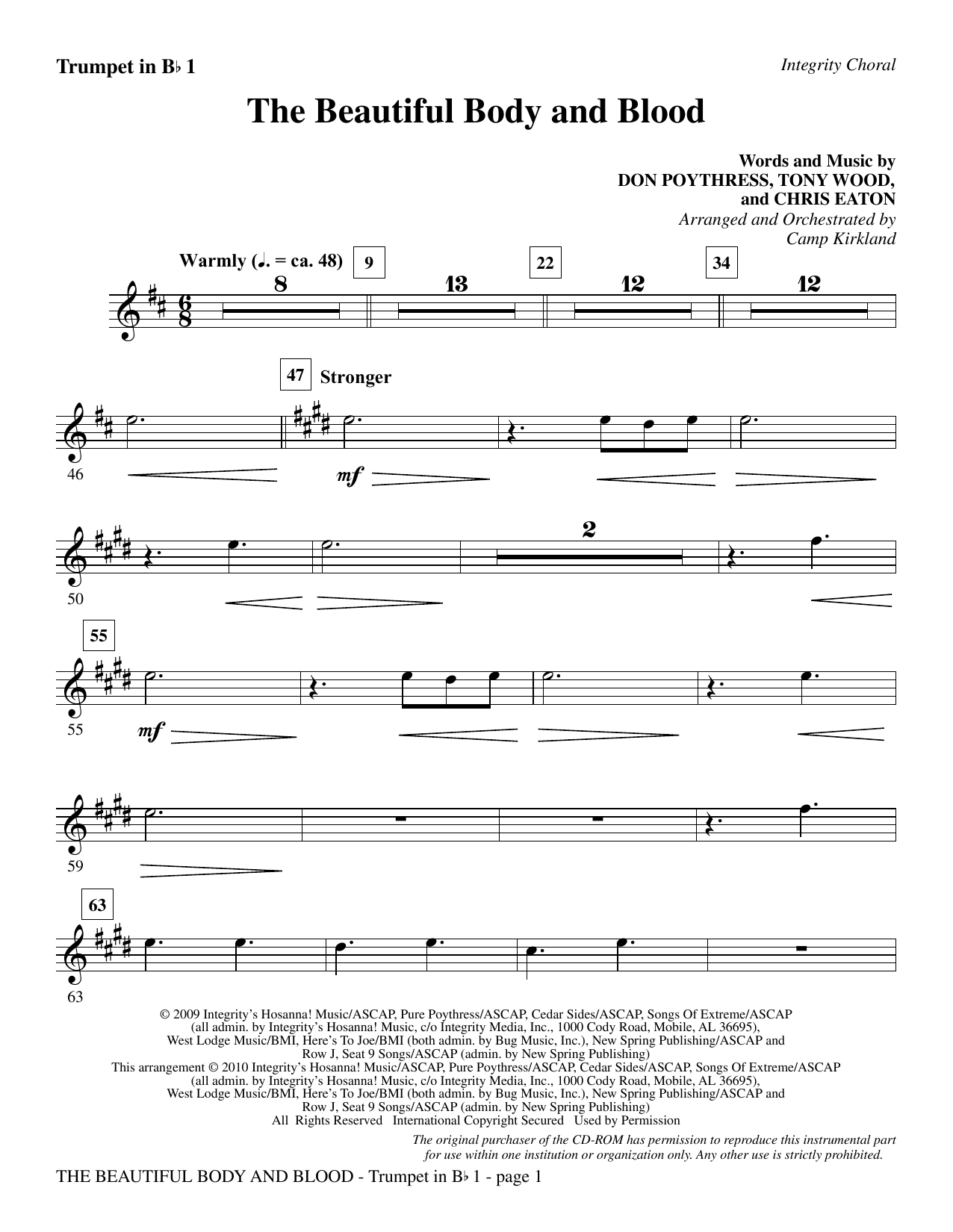 Camp Kirkland The Beautiful Body And Blood - Trumpet 1 sheet music notes and chords. Download Printable PDF.