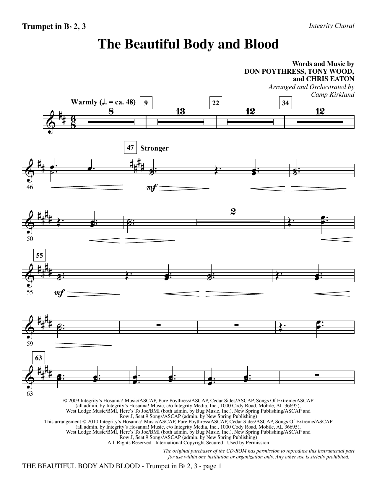 Camp Kirkland The Beautiful Body And Blood - Trumpet 2 & 3 sheet music notes and chords. Download Printable PDF.