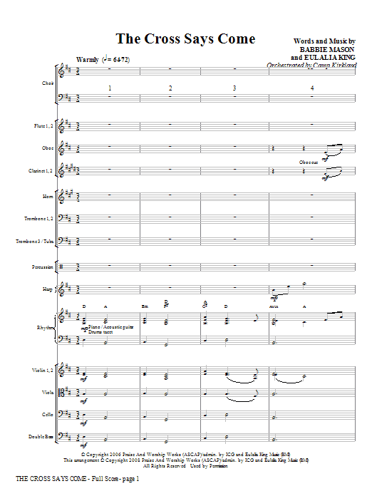 Camp Kirkland The Cross Says Come - Full Score sheet music notes and chords. Download Printable PDF.