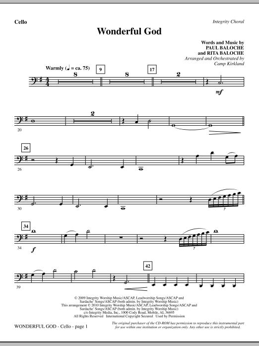 Camp Kirkland Wonderful God - Cello sheet music notes and chords. Download Printable PDF.