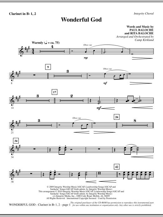 Camp Kirkland Wonderful God - Clarinet 1 & 2 sheet music notes and chords. Download Printable PDF.