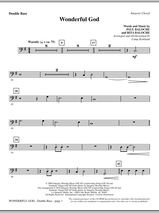 Camp Kirkland Wonderful God - Double Bass sheet music notes and chords. Download Printable PDF.