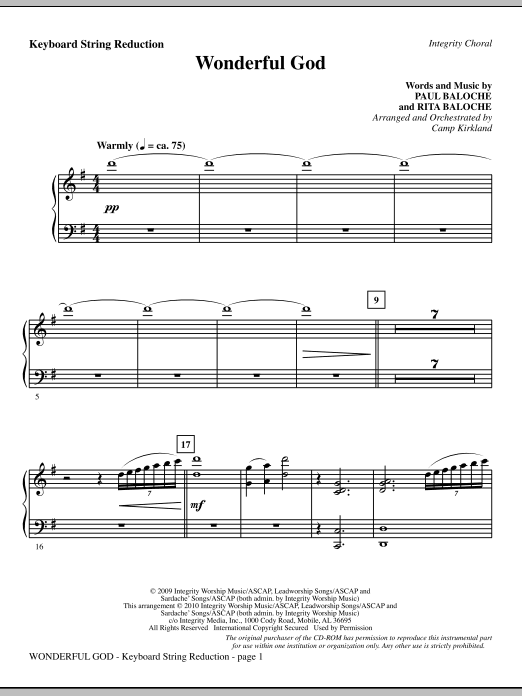 Camp Kirkland Wonderful God - Keyboard String Reduction sheet music notes and chords. Download Printable PDF.