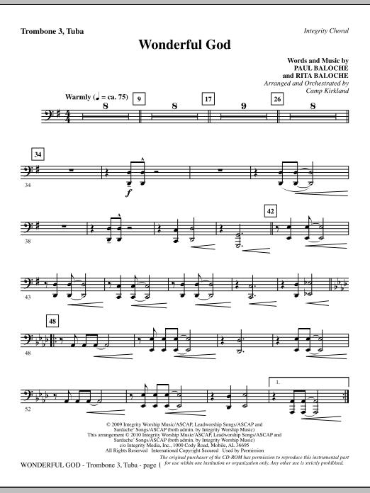 Camp Kirkland Wonderful God - Trombone 3/Tuba sheet music notes and chords. Download Printable PDF.