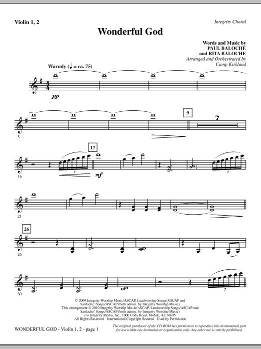 Camp Kirkland Wonderful God - Violin 1, 2 sheet music notes and chords. Download Printable PDF.