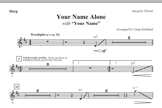 Camp Kirkland Your Name Alone (with Your Name) - Harp sheet music notes and chords. Download Printable PDF.