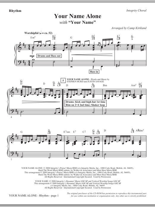 Camp Kirkland Your Name Alone (with Your Name) - Rhythm sheet music notes and chords. Download Printable PDF.