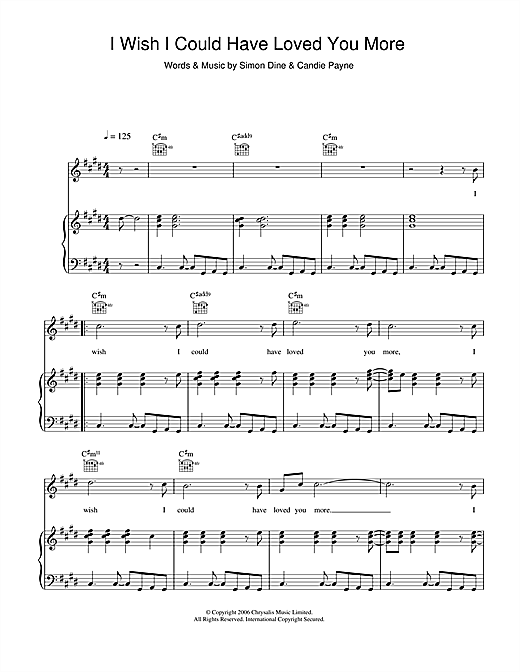 Candie Payne I Wish I Could Have Loved You More sheet music notes and chords. Download Printable PDF.