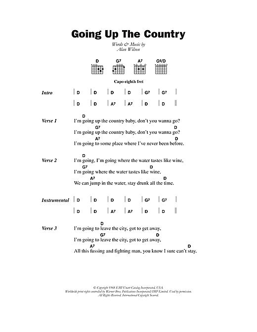Canned Heat Going Up The Country sheet music notes and chords. Download Printable PDF.