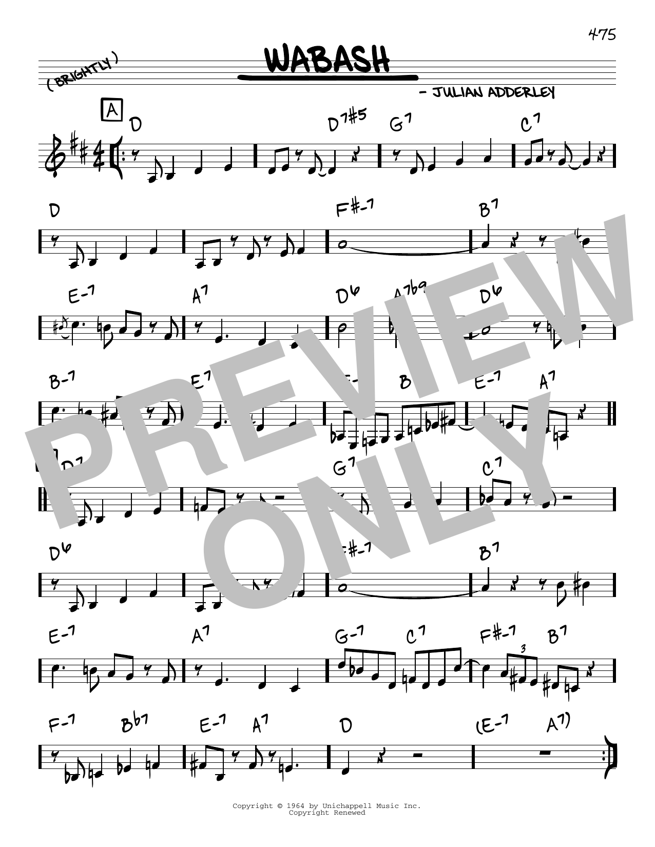 Cannonball Adderley Wabash sheet music notes and chords. Download Printable PDF.