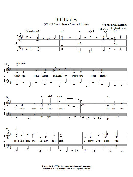 Hughie Cannon Bill Bailey, Won't You Please Come Home sheet music notes and chords. Download Printable PDF.
