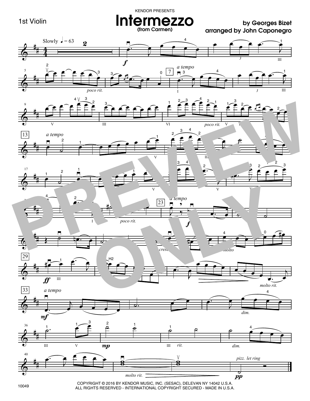 Caponegro Intermezzo (from Carmen) - 1st Violin sheet music notes and chords. Download Printable PDF.