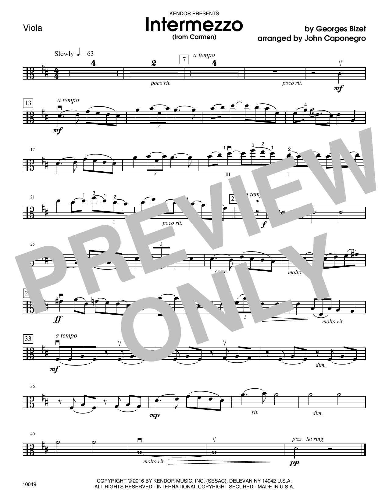 Caponegro Intermezzo (from Carmen) - Viola sheet music notes and chords. Download Printable PDF.