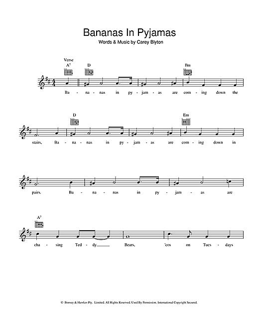 Carey Blyton Bananas In Pyjamas sheet music notes and chords. Download Printable PDF.