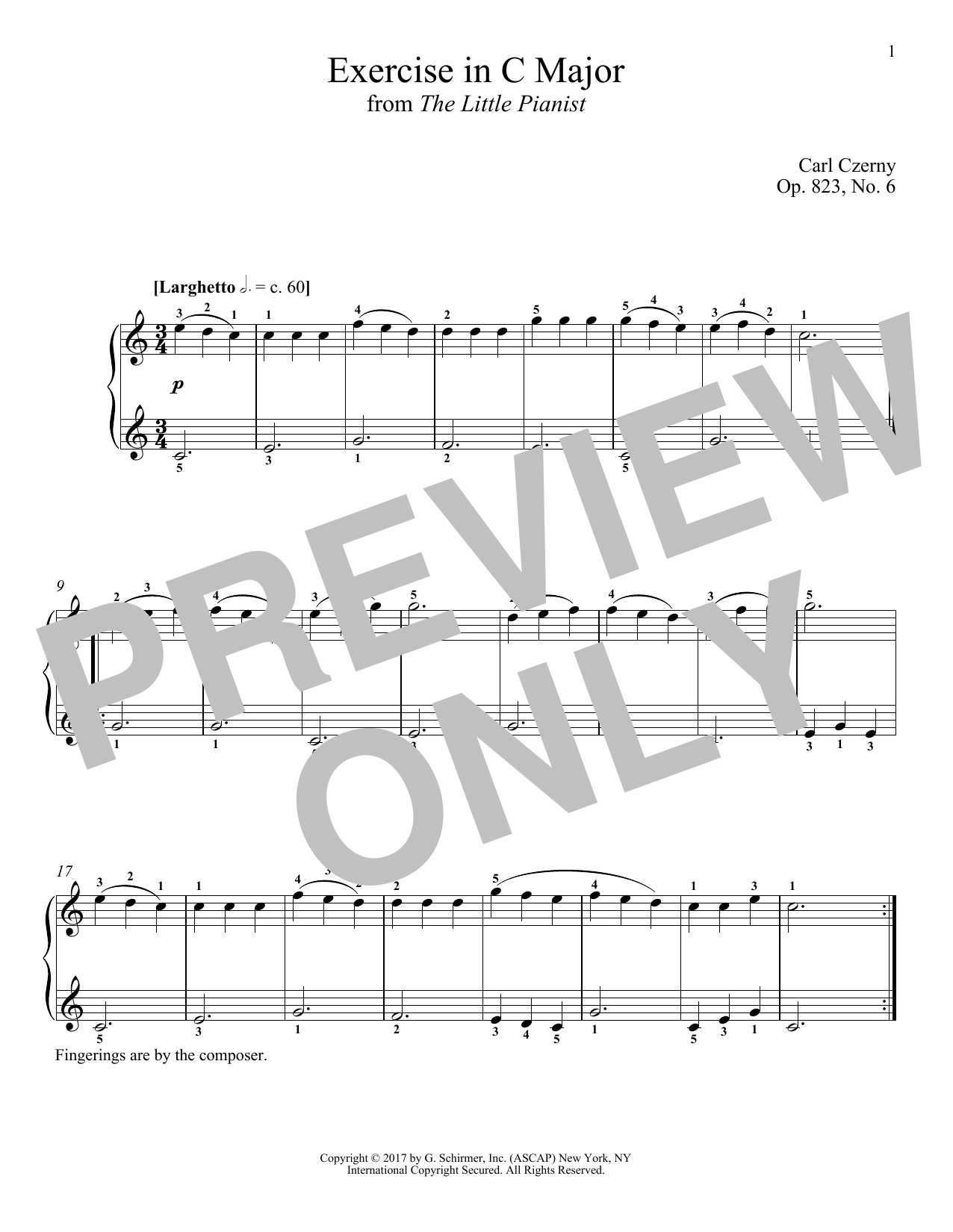 Carl Czerny Exercise in C Major, Op. 823, No. 6 sheet music notes and chords