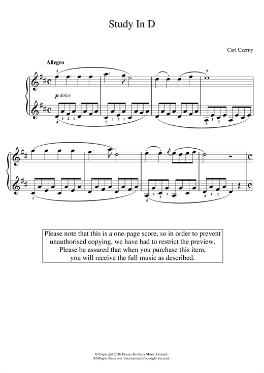 Carl Czerny Study In D sheet music notes and chords. Download Printable PDF.