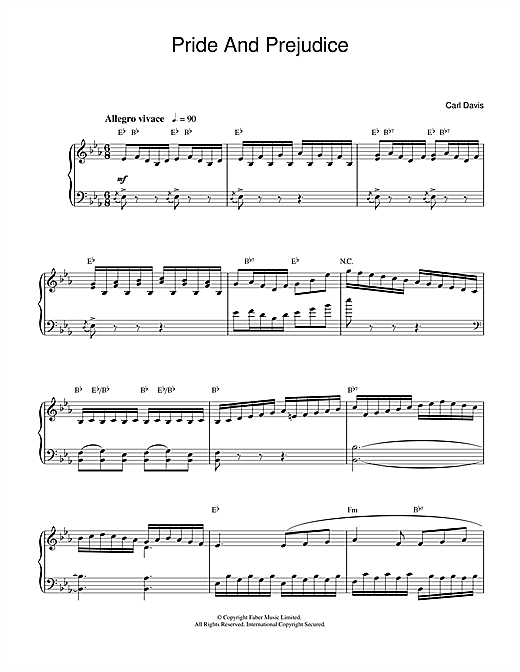Carl Davis Pride And Prejudice sheet music notes and chords. Download Printable PDF.