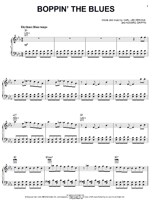 Carl Perkins Boppin' The Blues sheet music notes and chords