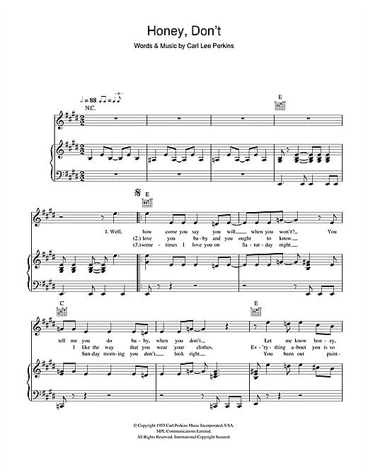 Carl Perkins Honey, Don't sheet music notes and chords. Download Printable PDF.