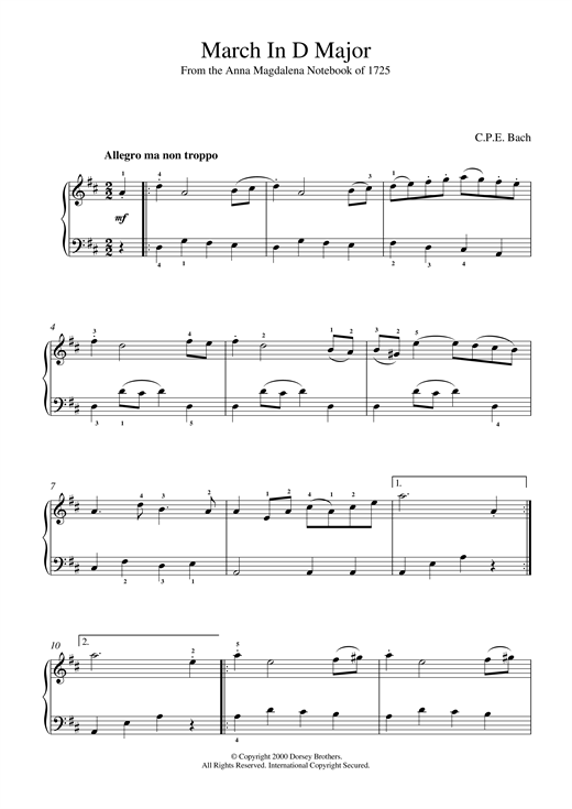 Carl Philipp Emanuel Bach March In D Major, BWV App. 122 sheet music notes and chords. Download Printable PDF.