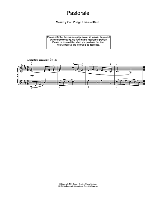 Carl Philipp Emanuel Bach Pastorale sheet music notes and chords