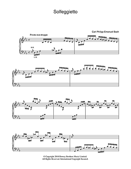 Carl Philipp Emanuel Bach Solfeggietto sheet music notes and chords. Download Printable PDF.