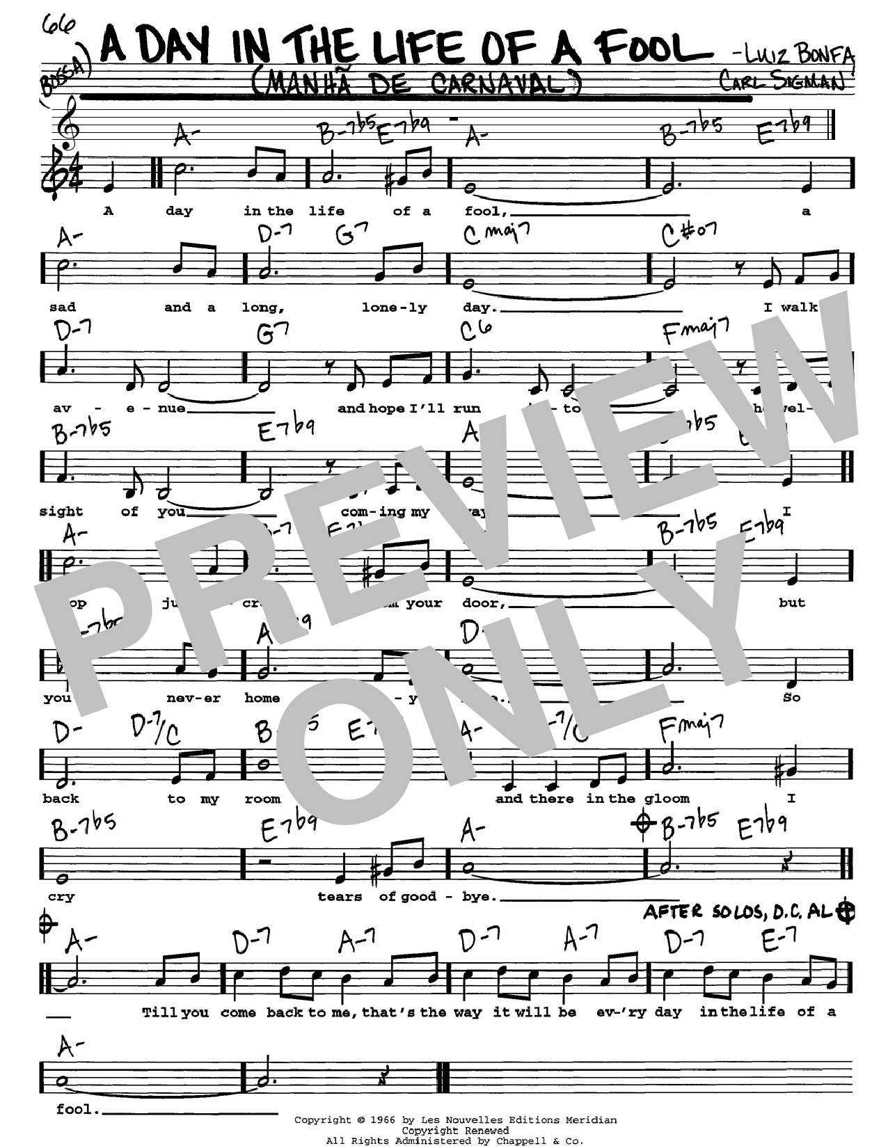 Carl Sigman A Day In The Life Of A Fool (Manha De Carnaval) sheet music notes and chords. Download Printable PDF.