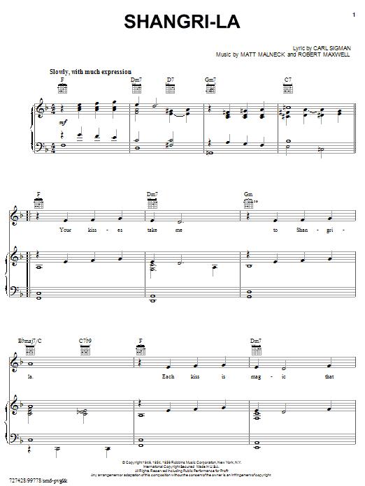 Carl Sigman Shangri-la sheet music notes and chords