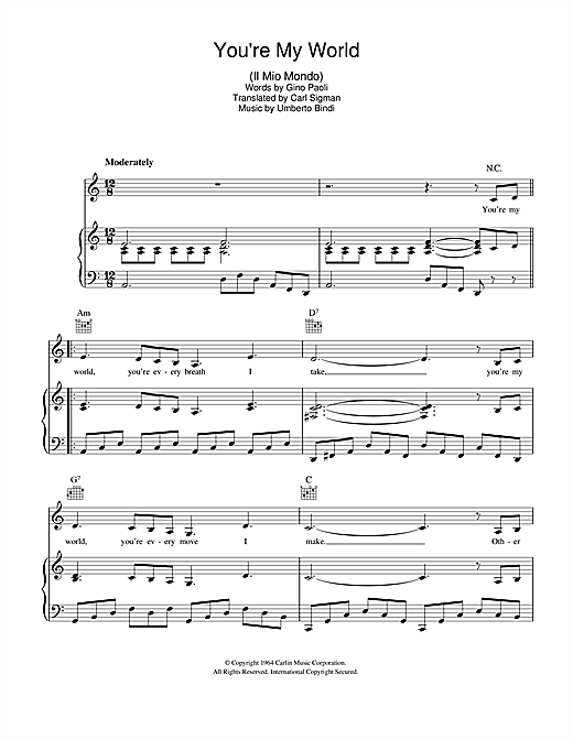 Carl Sigman You're My World (Il Mio Mondo) sheet music notes and chords