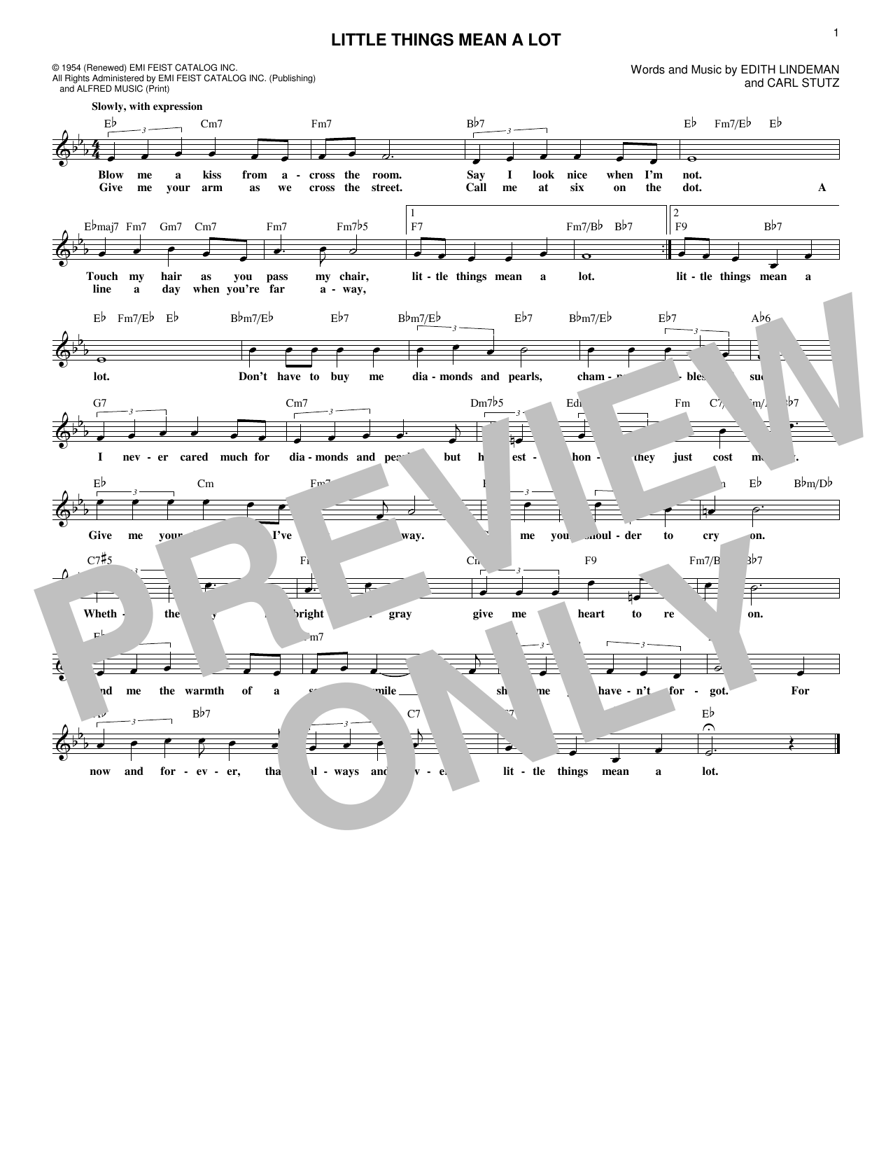 Carl Stutz Little Things Mean A Lot sheet music notes and chords. Download Printable PDF.