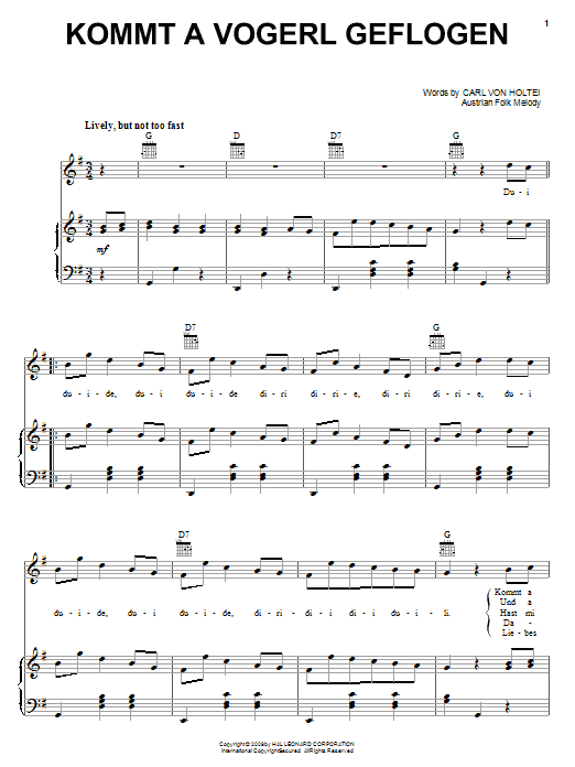 Carl von Holtei Kommt A Vogerl Geflogen (A Bird Comes Flying) sheet music notes and chords. Download Printable PDF.