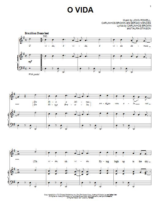 Carlinhos Brown and Nina de Freitas O Vida sheet music notes and chords. Download Printable PDF.