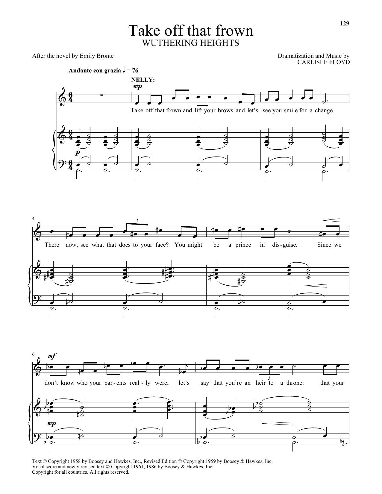 Carlisle Floyd Take off that frown (from Wuthering Heights) sheet music notes and chords. Download Printable PDF.
