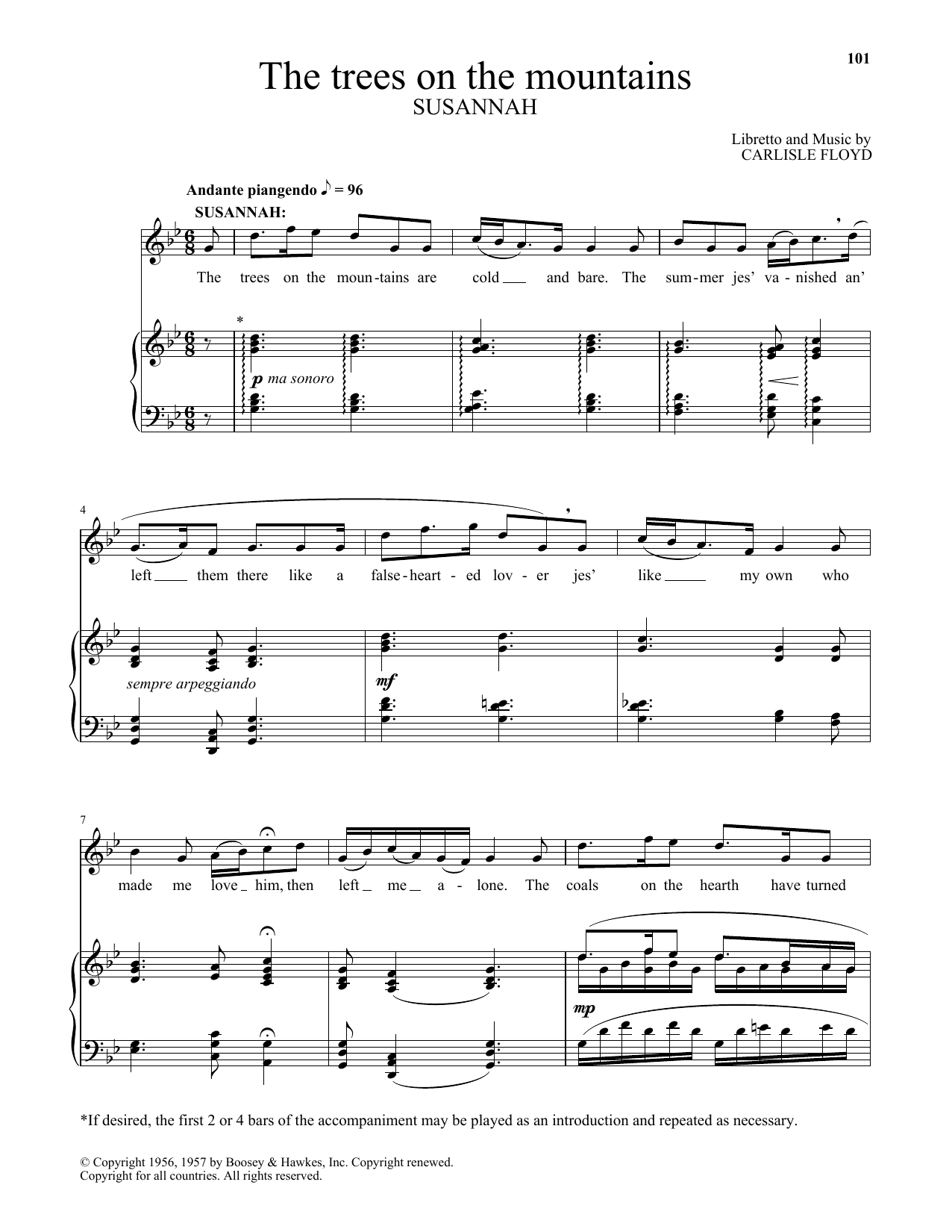 Carlisle Floyd The Trees On The Mountains sheet music notes and chords