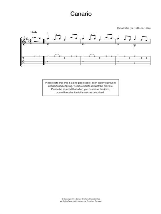 Carlo Calvi Canario sheet music notes and chords