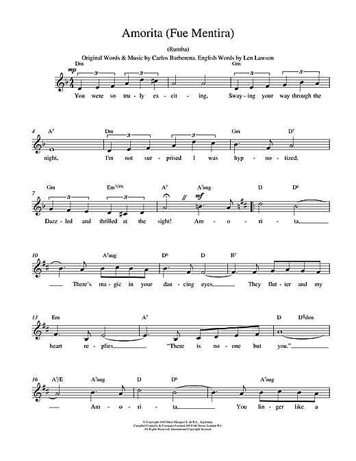 Carlos Barberena Amorita (Fue Mentira) sheet music notes and chords